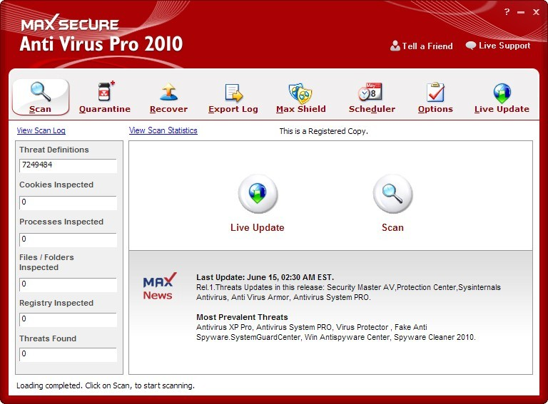 Max Secure Anti Virus Pro 2010