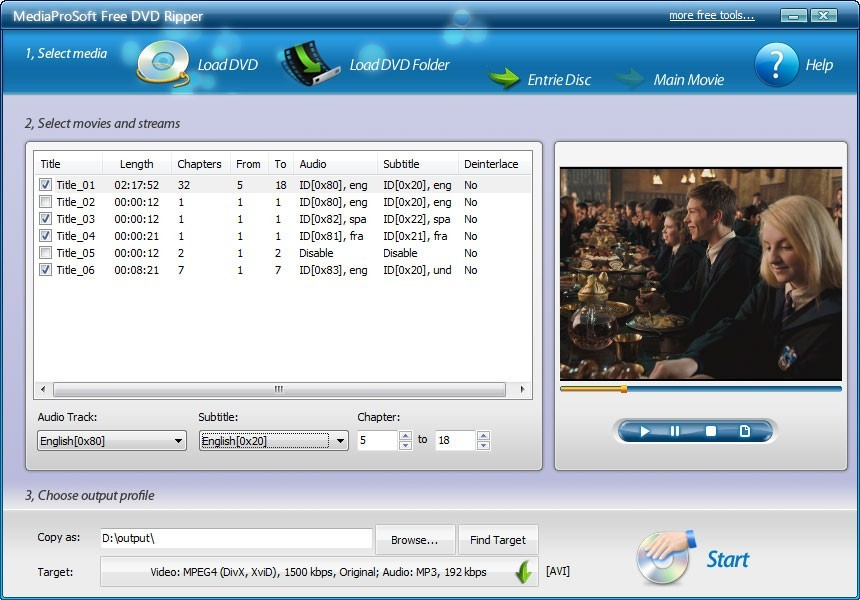 MediaProSoft Free DVD Ripper