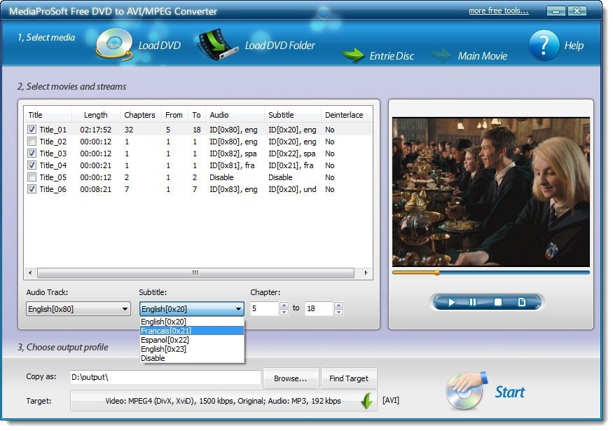 MediaProSoft Free DVD to AVI/MPEG Converter