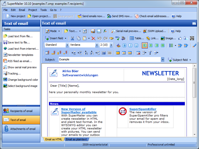 Newsletter Software SuperMailer