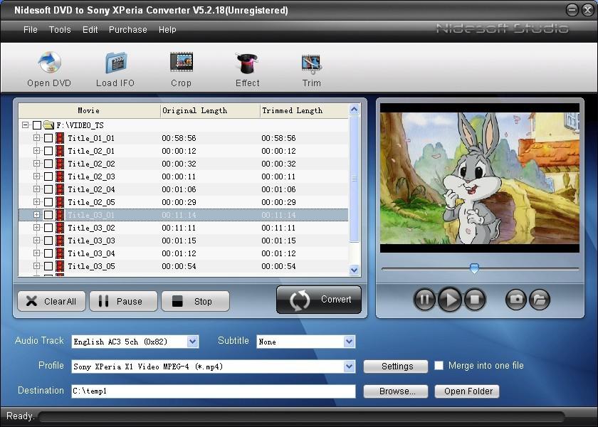 Nidesoft DVD to Sony XPeria Converter