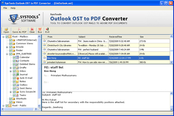 Outlook 2010 OST Email to PDF Migration