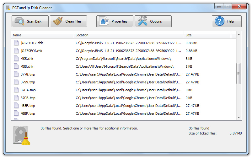 PCTuneUp Free Disk Cleaner