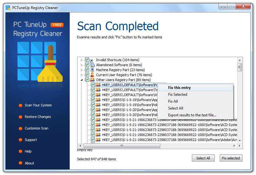PCTuneUp Free Registry Cleaner