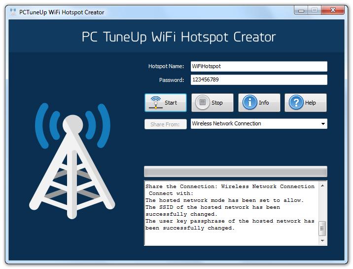 PCTuneUp Free WiFi Hotspot Creator
