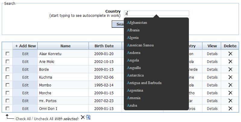 PHP DataGrid AJAX Enabled Web Control