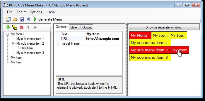 PURE CSS Menu Maker
