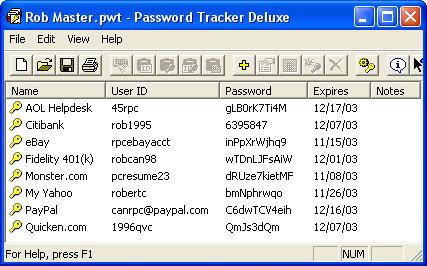 Password Tracker Deluxe