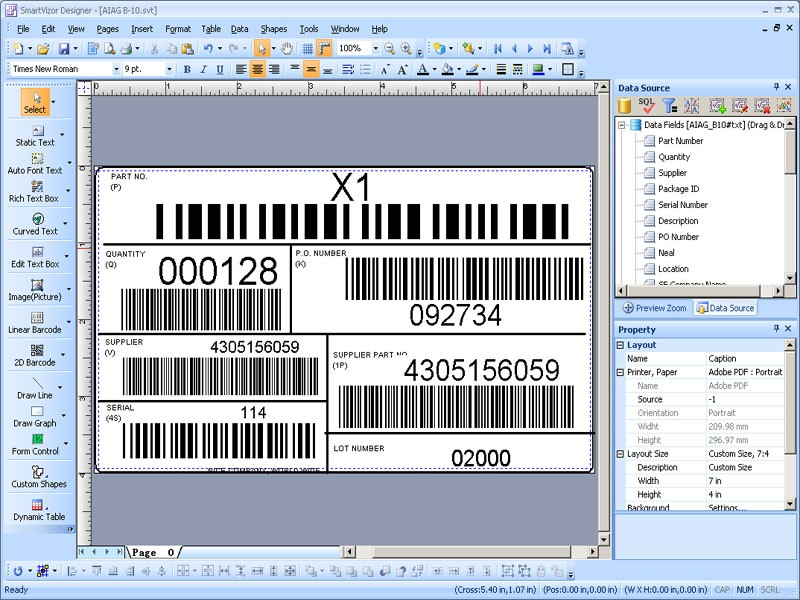 PrintShop Variable Barcode Label Printing Software