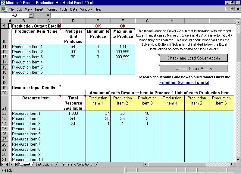 Production Mix Model Excel