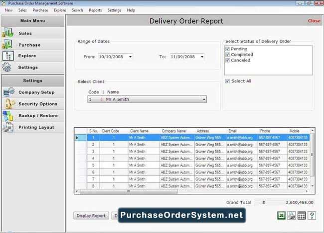 Purchase Order Organizer
