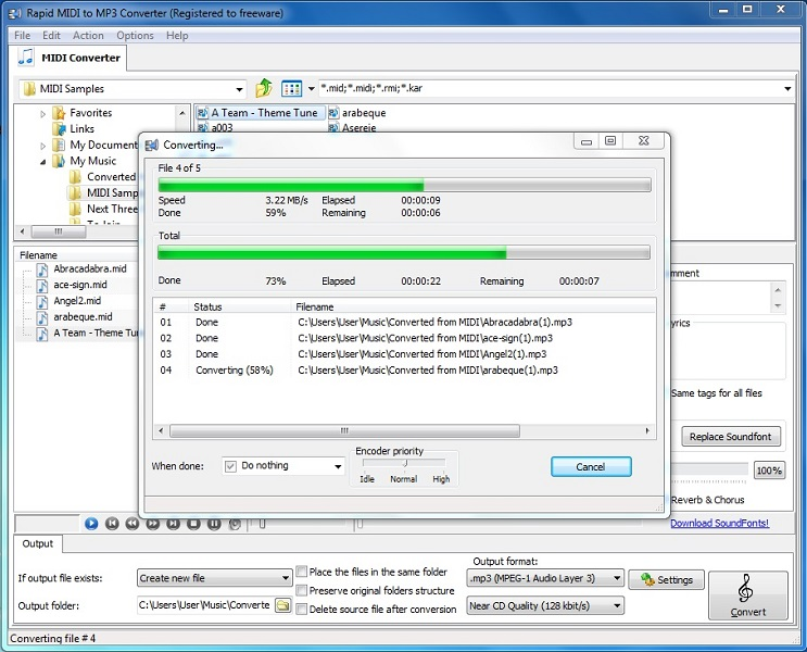 Rapid MIDI To MP3 Converter