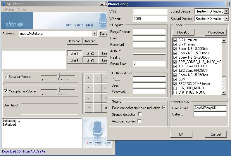 SIP VOIP Software development kit