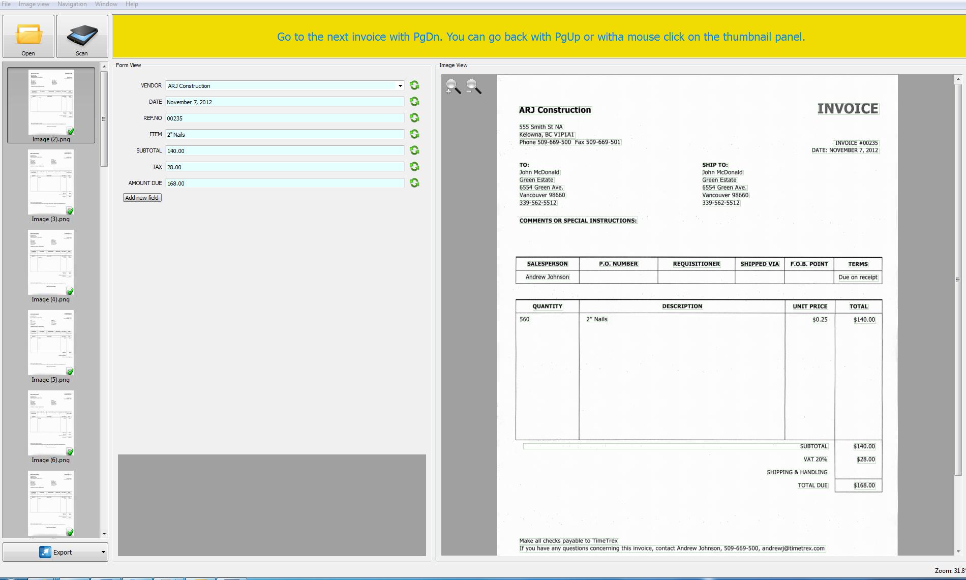 SmartSoft Invoice Scanning