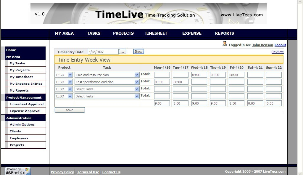 TimeLive open source web timesheet