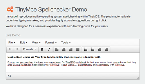 TinyMce Spellchecker Demo