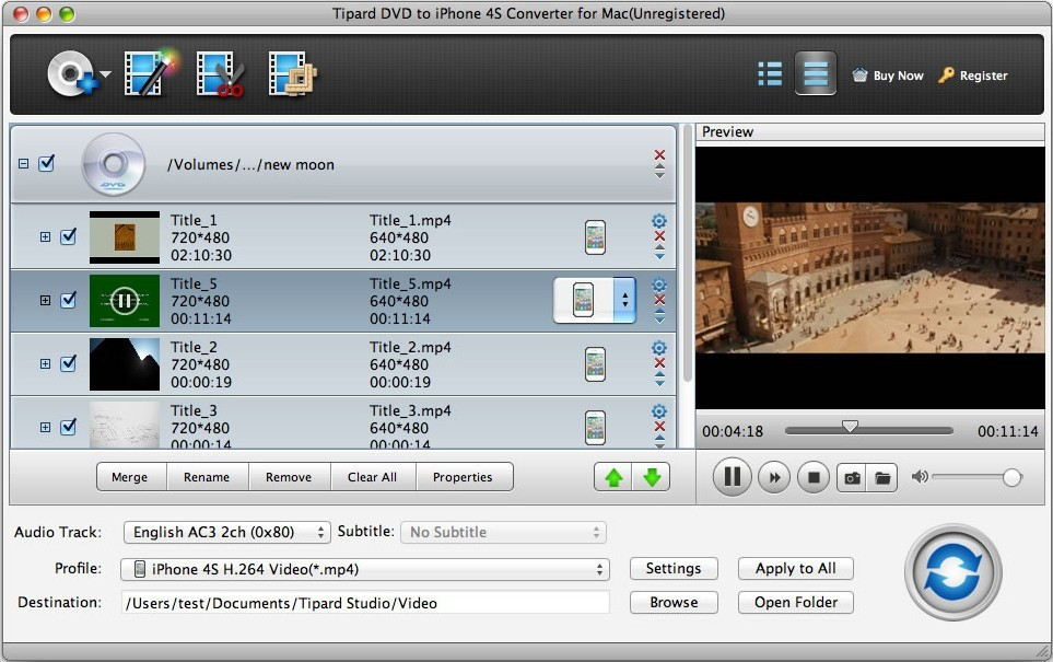 Tipard Mac DVD to iPhone 4S Converter