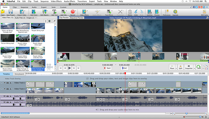 VideoPad Video Editor Free for Mac Main Window - NCH ...