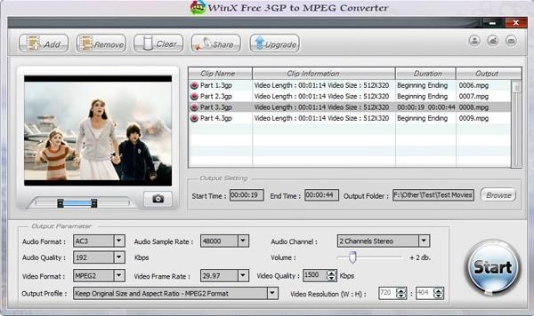 WinX Free 3GP to MPEG Converter