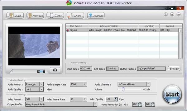 WinX Free AVI to 3GP Converter