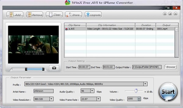 WinX Free AVI to iPhone Video Converter