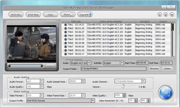 WinX Free DVD to VOB Ripper