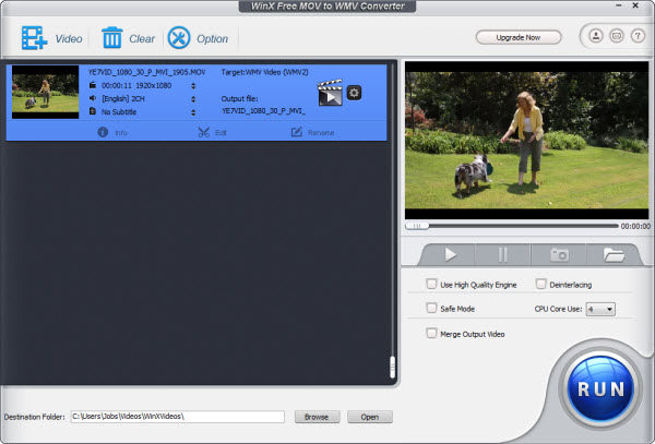 WinX Free MOV to WMV Converter