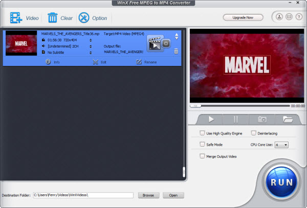 WinX Free MPEG to MP4 Converter