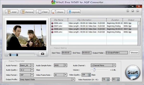 WinX Free WMV to 3GP Converter