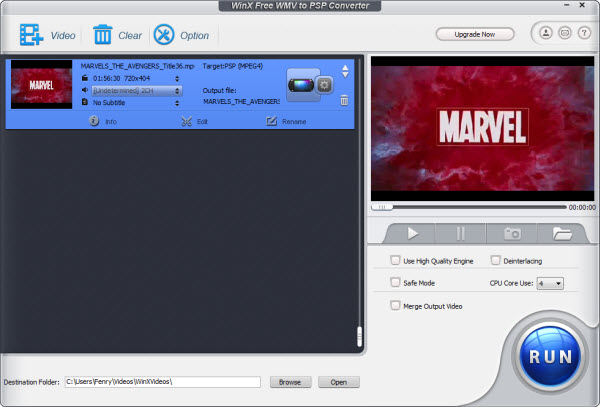 WinX Free WMV to PSP Converter