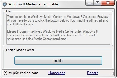 Windows 8 Media Center Enabler