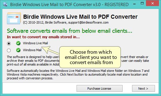 Windows Live Mail to PDF Conversion
