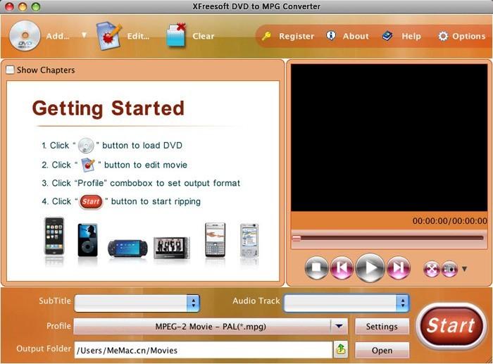 XFreesoft Mac DVD to MPG Converter
