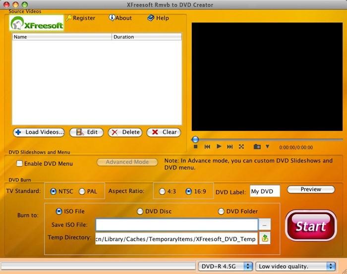 XFreesoft Rmvb to DVD Creator for Mac