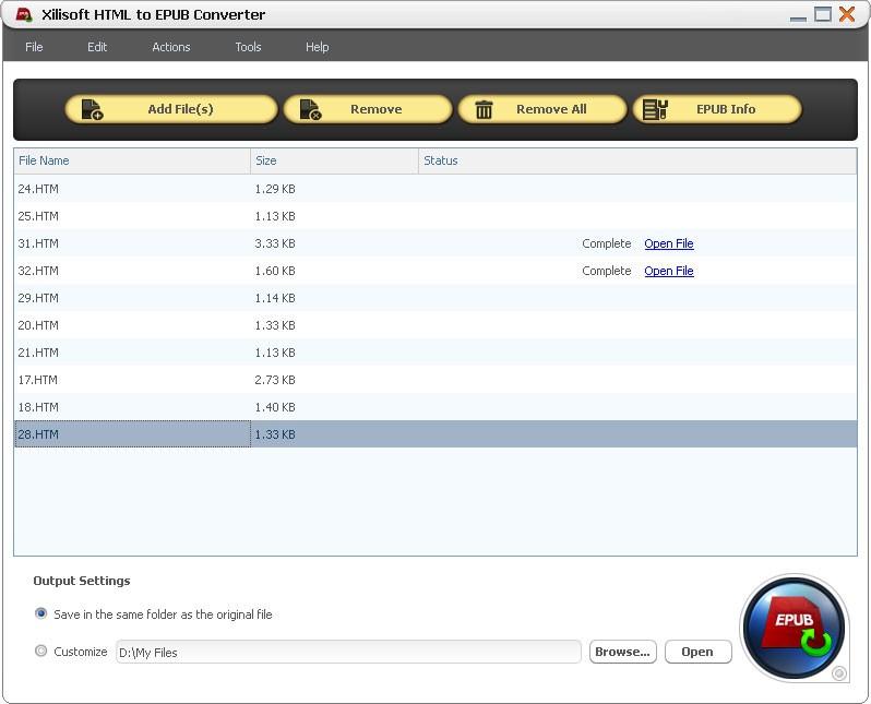 Xilisoft HTML to EPUB Converter