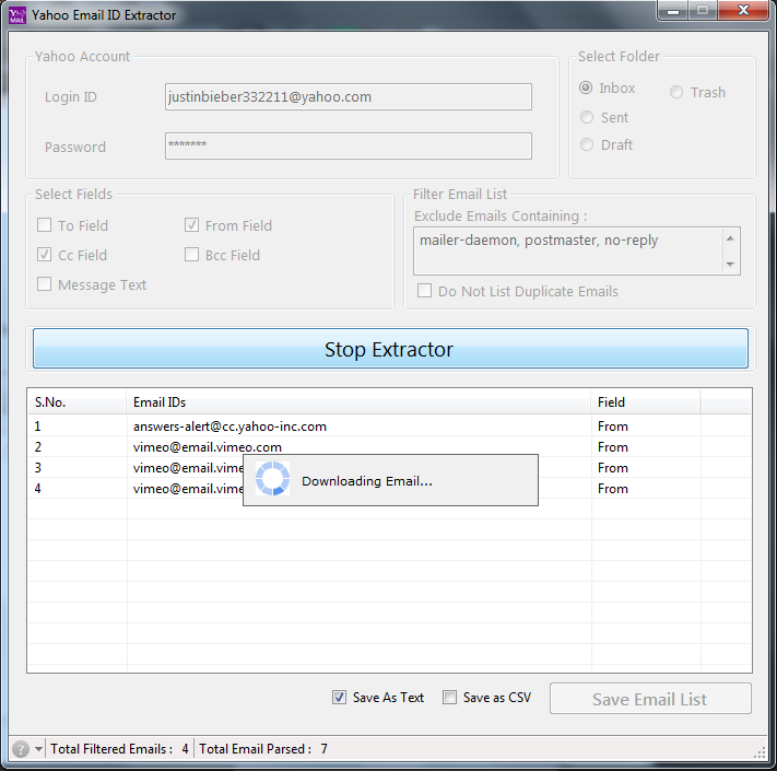 Yahoo Email ID Extractor