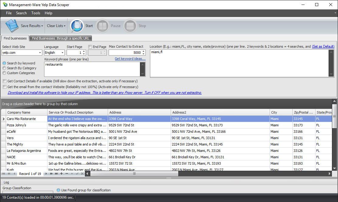 Yelp Data Scraper
