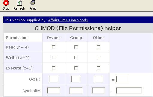 Affairs CHMOD Calculator