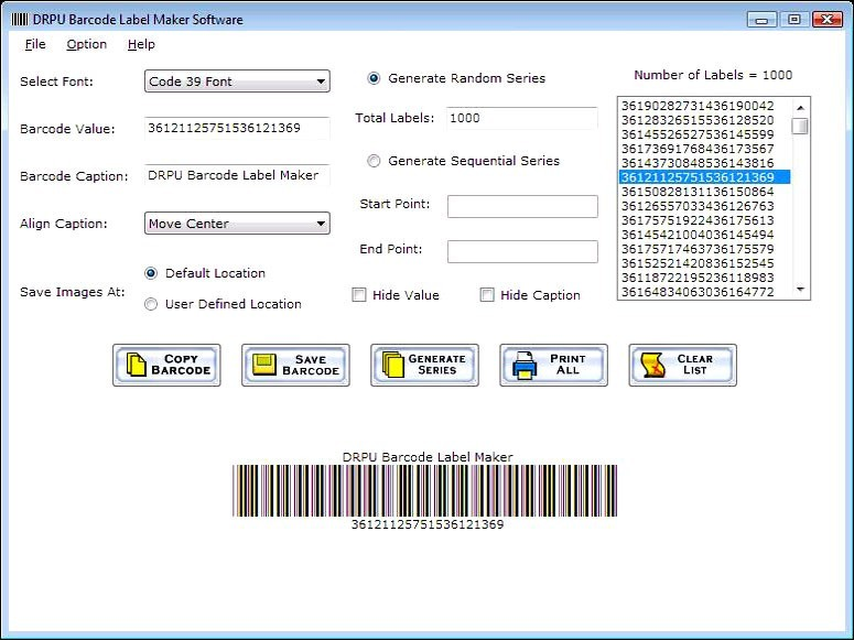 Barcode print creator