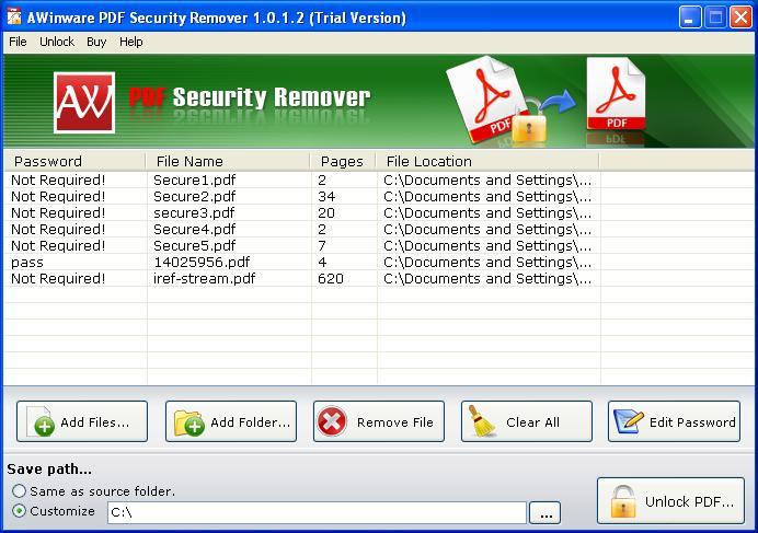 Batch PDF Security Remover