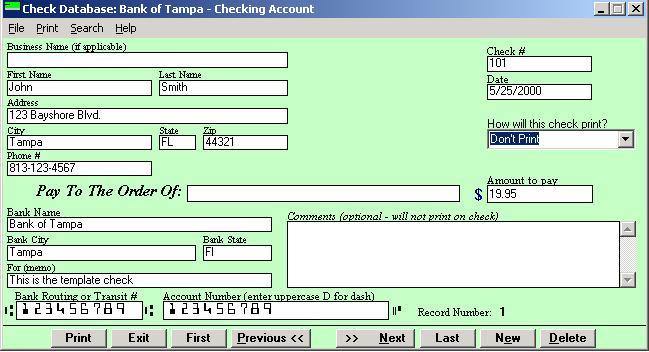 Check Printing Software 2000