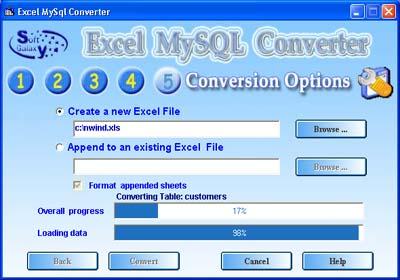 Excel Mysql wizard import Excel to MySQL 4.o