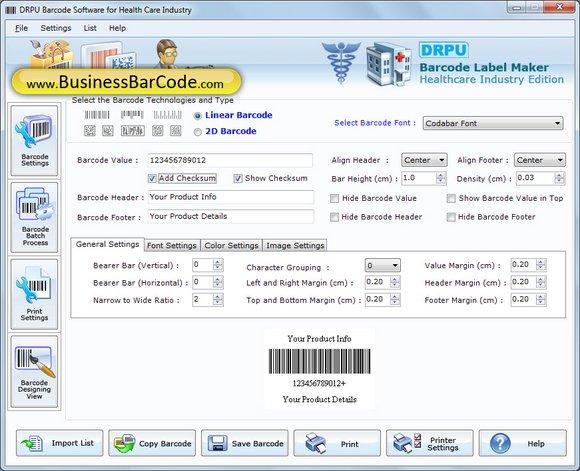 Hospital Barcode Fonts