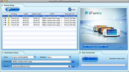 iFunia DVD to PSP Converter for Mac