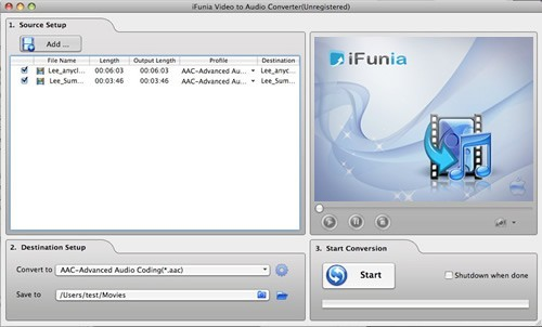 iFunia Video to Audio Converter for Mac