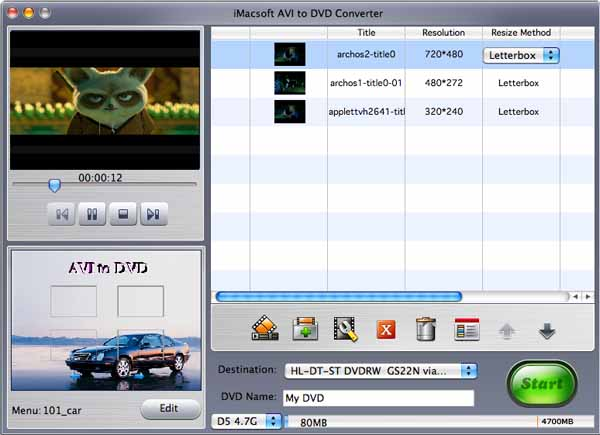iMacsoft AVI to DVD Converter for Mac