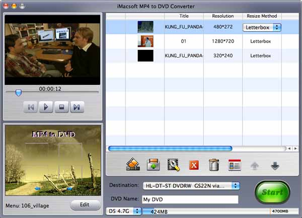 iMacsoft MP4 to DVD Converter for Mac