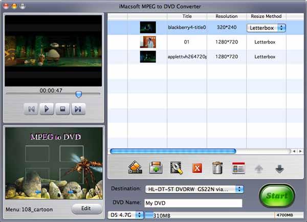 iMacsoft MPEG to DVD Converter for Mac