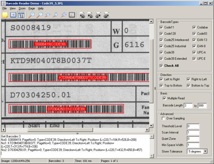 ImagesInfo Barcode Reader Toolkit