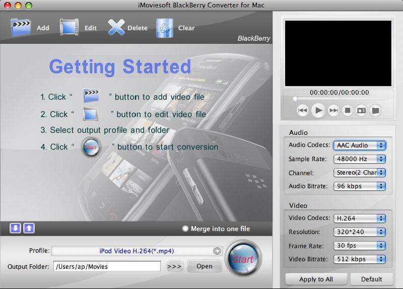 iMovie BlackBerry Converter for Mac